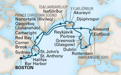 Map Of Canada Greenland And Iceland.Cruises From Boston To Iceland Greenland And Europe