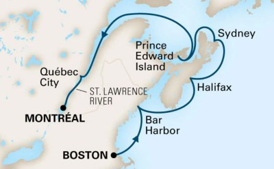 Boston Montreal cruise map