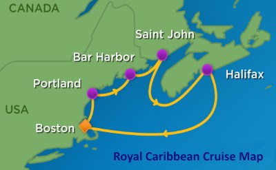 Boston to Nova Scotia cruise map